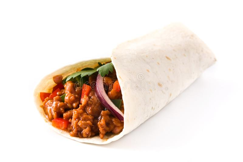 Typical Mexican burrito wrap with beef, frijoles and vegetables isolated stock photos