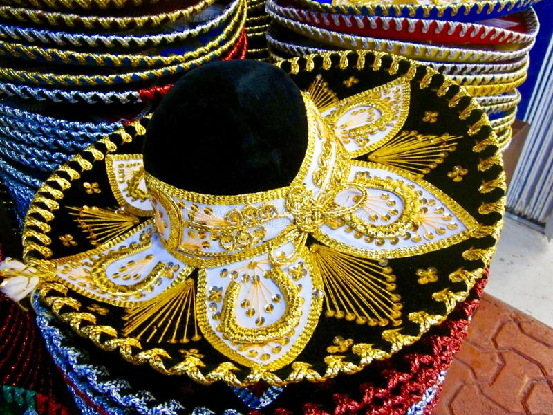 Typical mexican colorful hats stock photos