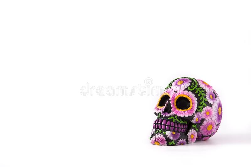 Typical Mexican skull painted isolated Dia de los muertos. royalty free stock photos