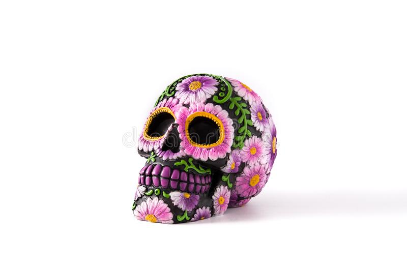 Typical Mexican skull painted isolated Dia de los muertos. stock image