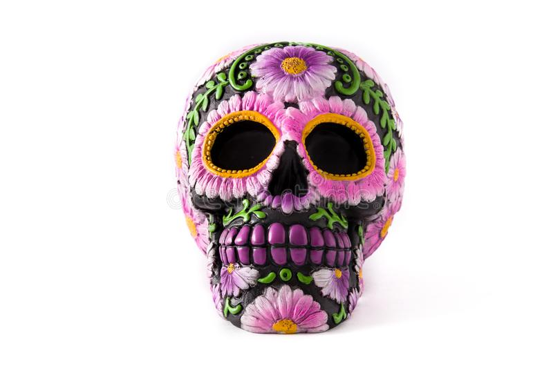 Typical Mexican skull painted  on white background. royalty free stock photos