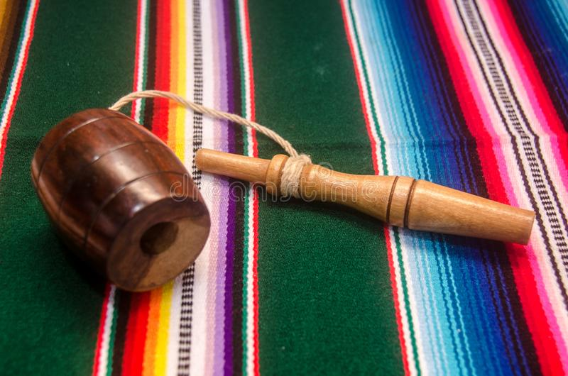 Traditional mexican balero and tapete royalty free stock photos