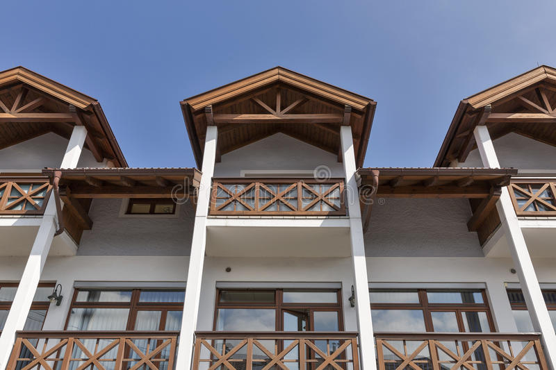 Typical modern Alpine architecture in Austria stock photography