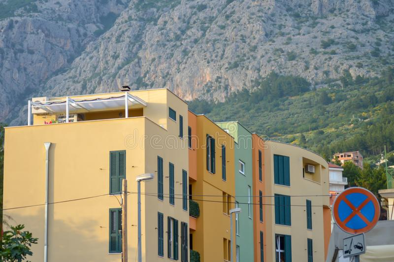Typical modern apartment building in city center in Makarska, Croatia on June 16, 2019. royalty free stock images