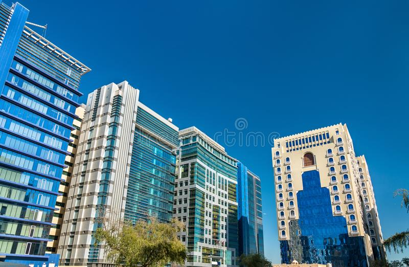 Typical modern building in Doha, Qatar stock photos