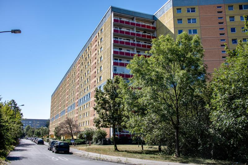 Typical modernized residential buildings in Leipzig ,Germany. Typical modernized residential buildings in Leipzig district Grünau with blue sky royalty free stock photography