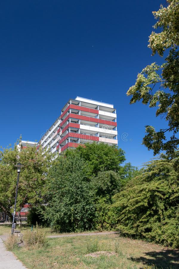 Typical modernized residential buildings in Leipzig ,Germany. Typical modernized residential buildings in Leipzig district Grünau with blue sky royalty free stock images