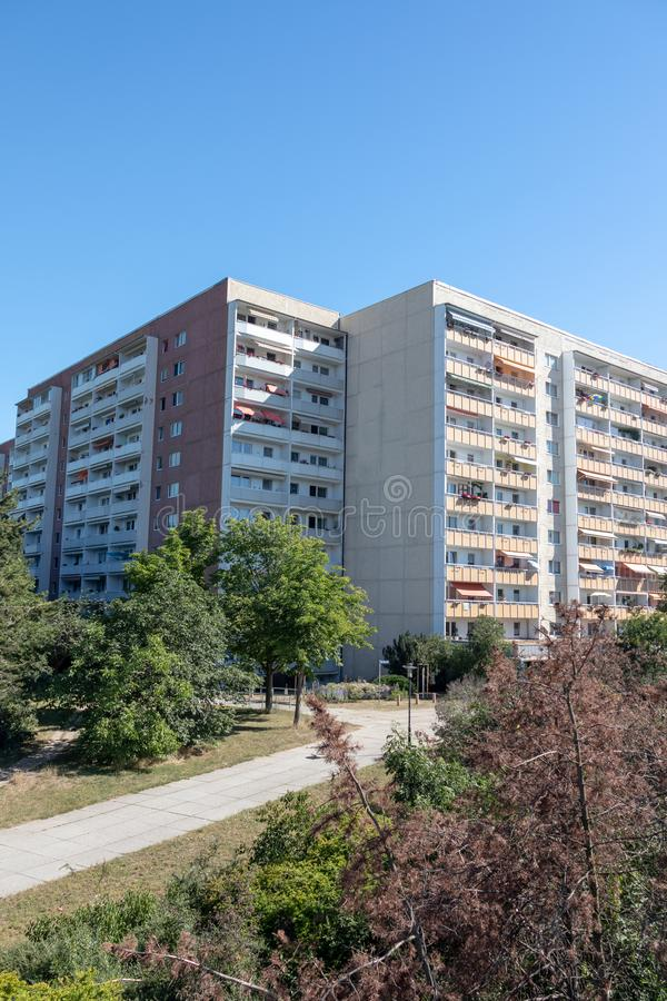 Typical modernized residential buildings in Leipzig ,Germany. Typical modernized residential buildings in Leipzig district Grünau with blue sky stock photography