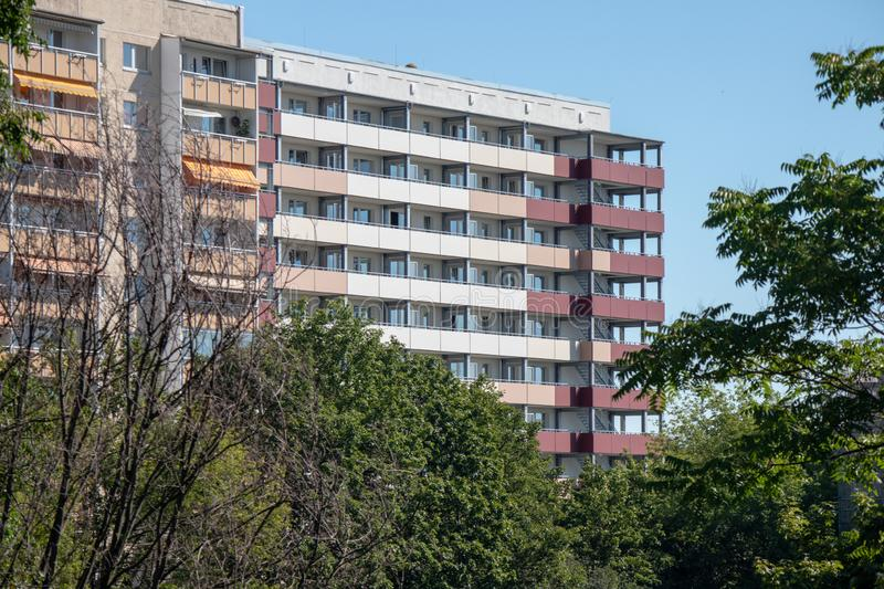 Typical modernized residential buildings in Leipzig ,Germany. Typical modernized residential buildings in Leipzig district Grünau with blue sky stock images