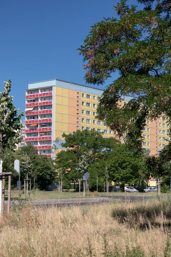 Typical modernized residential buildings in Leipzig ,Germany. Typical modernized residential buildings in Leipzig district Grünau with blue sky royalty free stock photo