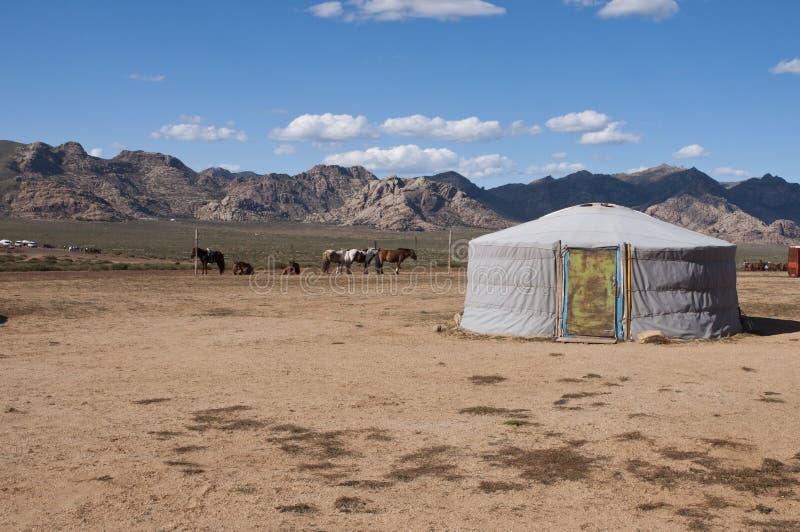 Nomadic yurt in desert royalty free stock images