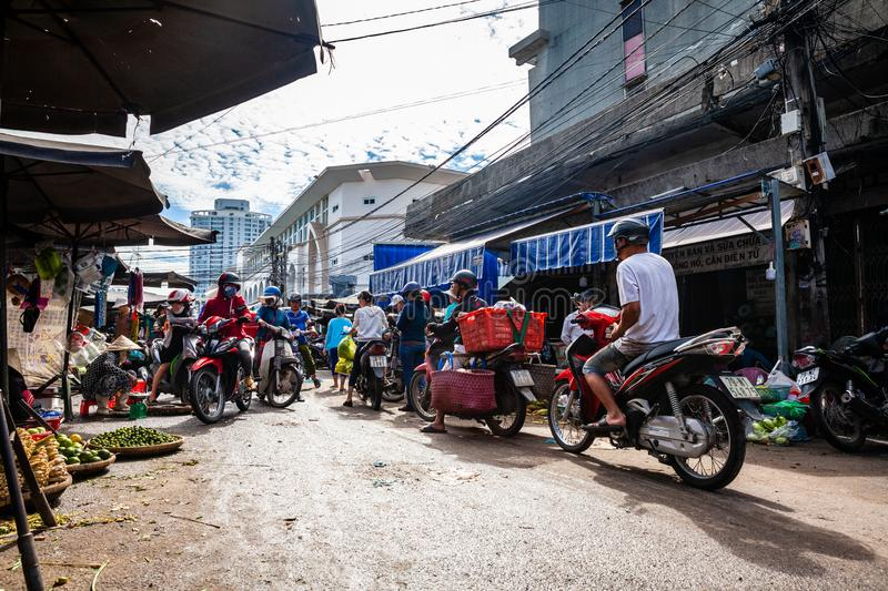 Typical morning traffic jam at the Vietnamese street market royalty free stock images