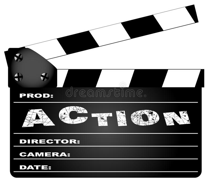 Action Movie Clapperboard. A typical movie clapperboard with the legend ACTION isolated on white vector illustration