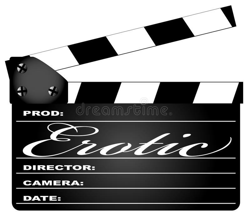 Erotic Clapperboard. A typical movie clapperboard with the legend EROTIC isolated on white vector illustration