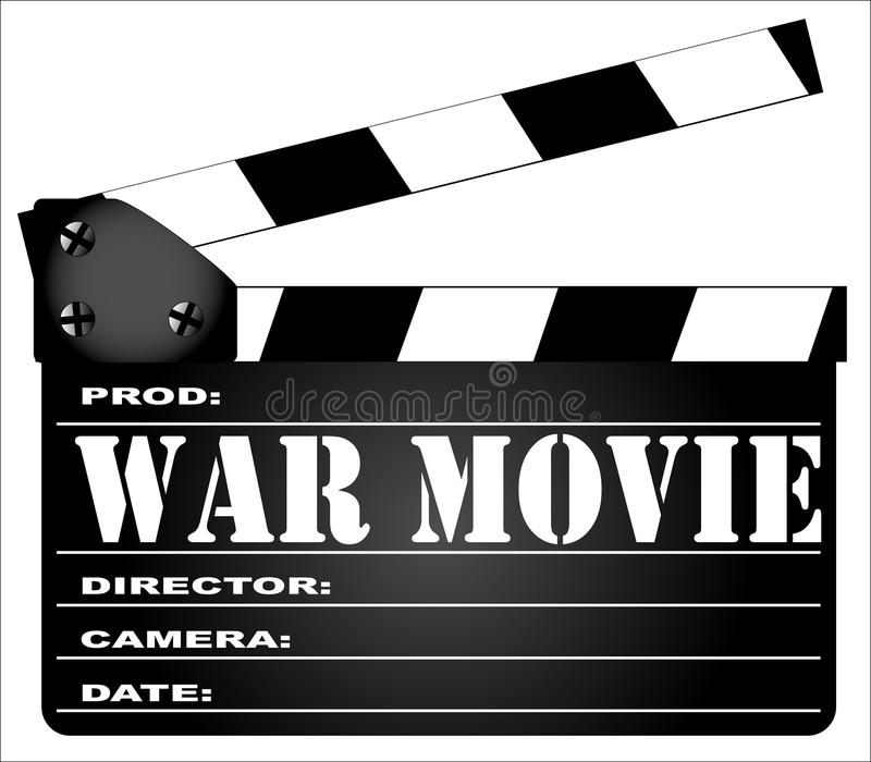 War Movie Clapperboard. A typical movie clapperboard with the legend WAR MOVIE isolated on white stock illustration