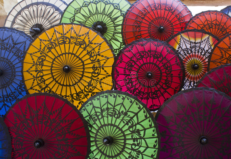 Typical Myanmar Umbrellas royalty free stock photography