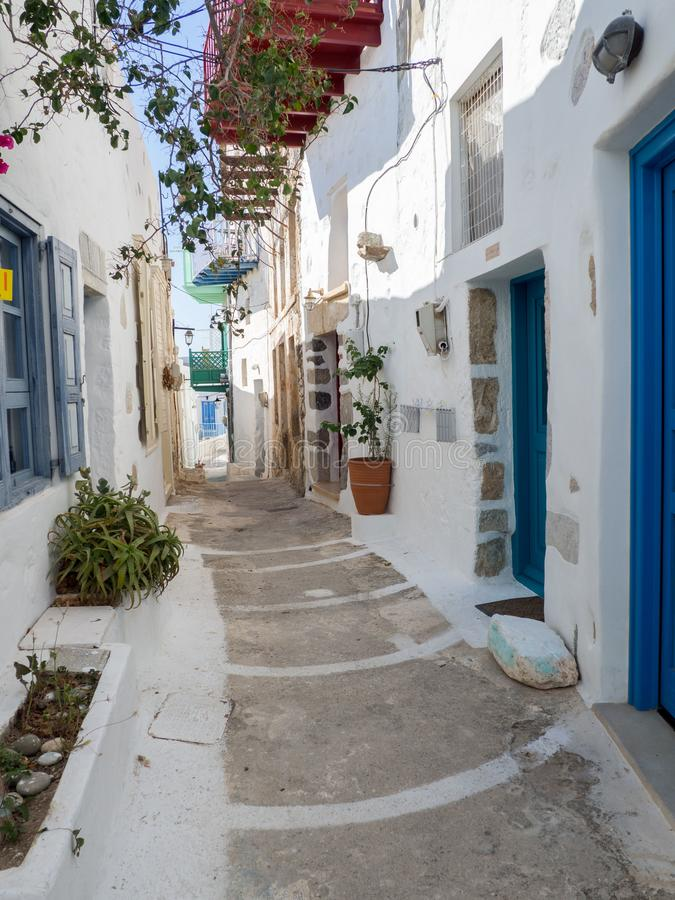 A typical narrow alley of Astypalaia island stock image