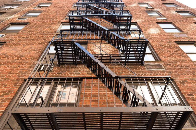 Typical New York fire stair made from cast iron in Manhattan stock photography