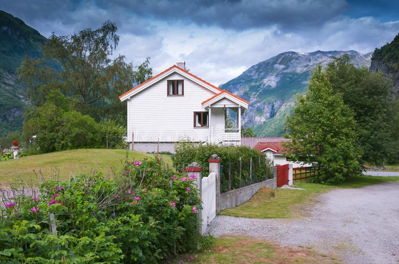 Typical Norwegian cottage in Geiranger. Norway stock image
