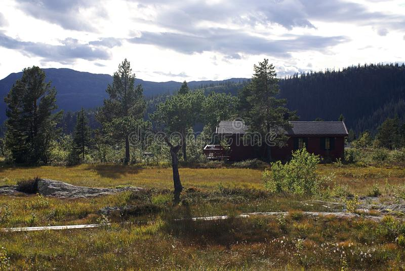 Typical norwegian rural cottage. Beautiful landscape of Norway. royalty free stock photo