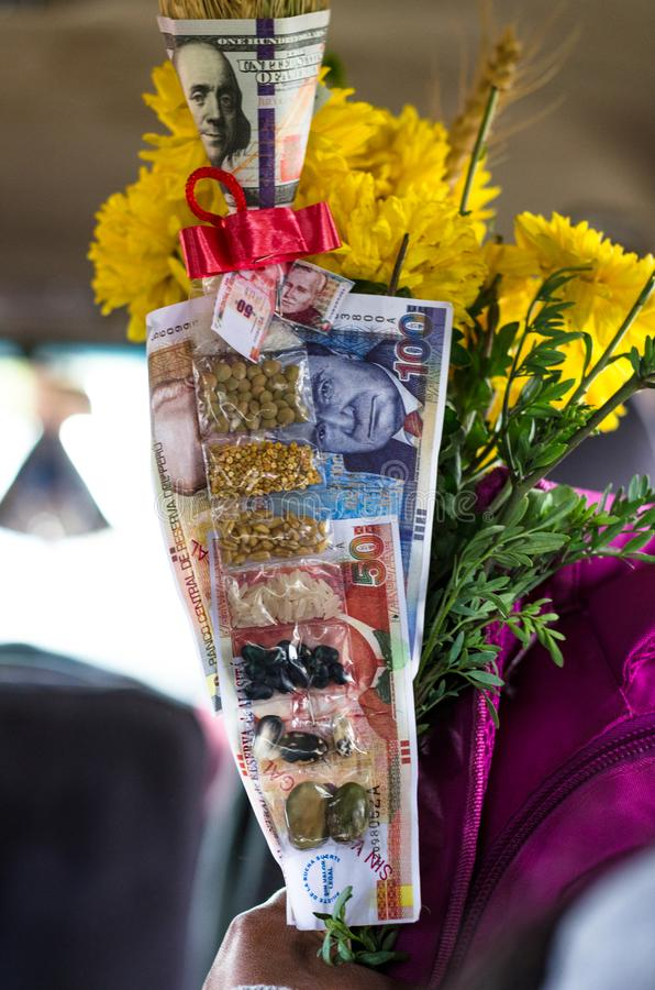 Typical objects that some people in Peru tend to buy to attract good luck and fortune. Lucky objects for the new year, typical objects that some people in Peru stock image