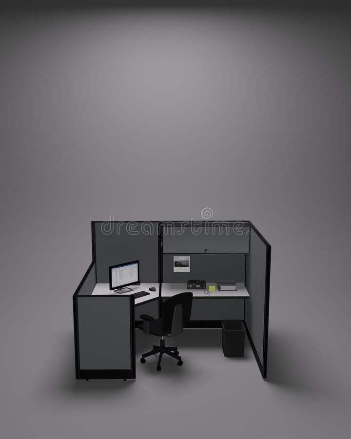 Typical office cubicle on gray background vector illustration