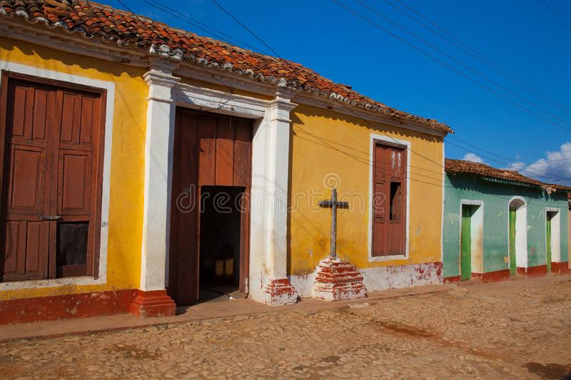 The typical old colonial street in Trinidad, Cuba stock photo