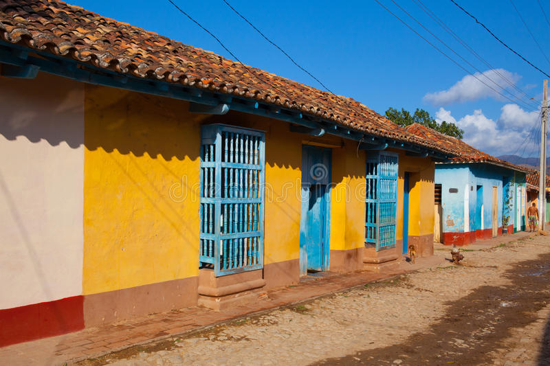 The typical old colonial street in Trinidad, Cuba. stock photography