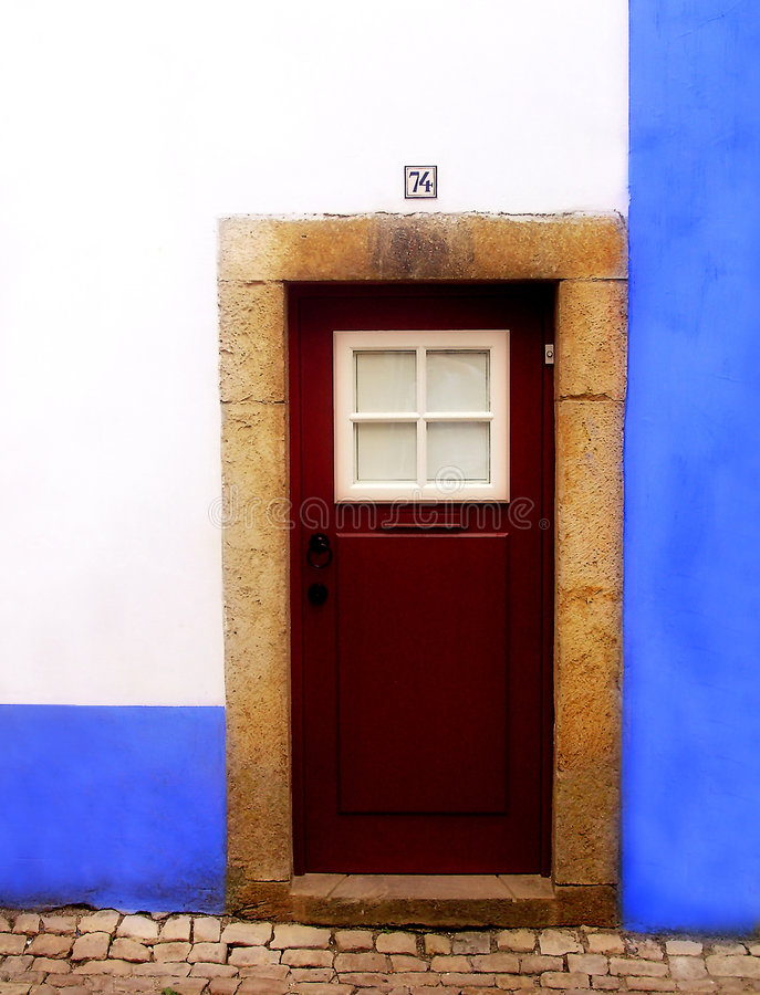 Typical old door at Obidos Village - Portugal stock photo