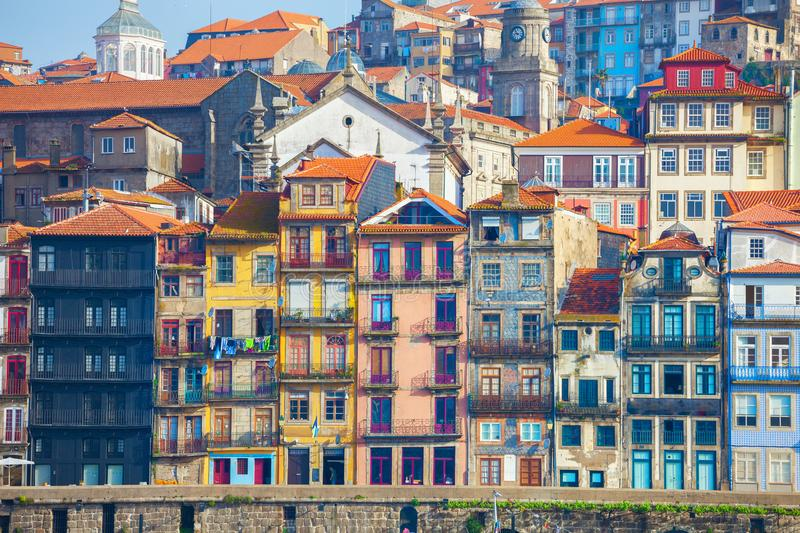 Typical old houses with colorful facades at Ribeira district, Porto, Portugal.  stock image