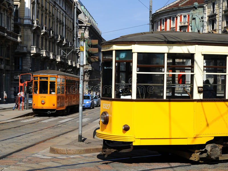 Download Typical old Milan trams editorial stock photo. Image of teatro - 18249218