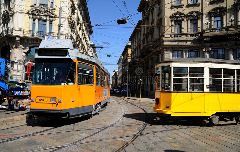 Download Typical old Milan trams editorial photography. Image of buildings - 18249242