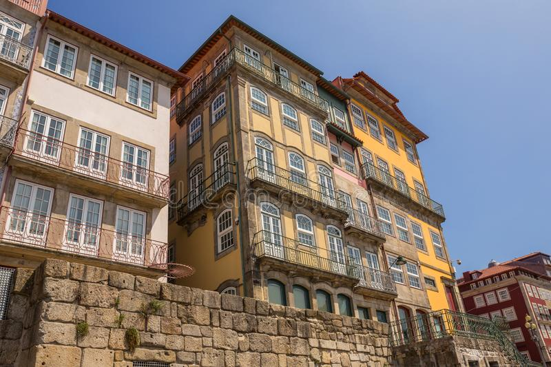 Typical Ribeira houses in Porto stock photography