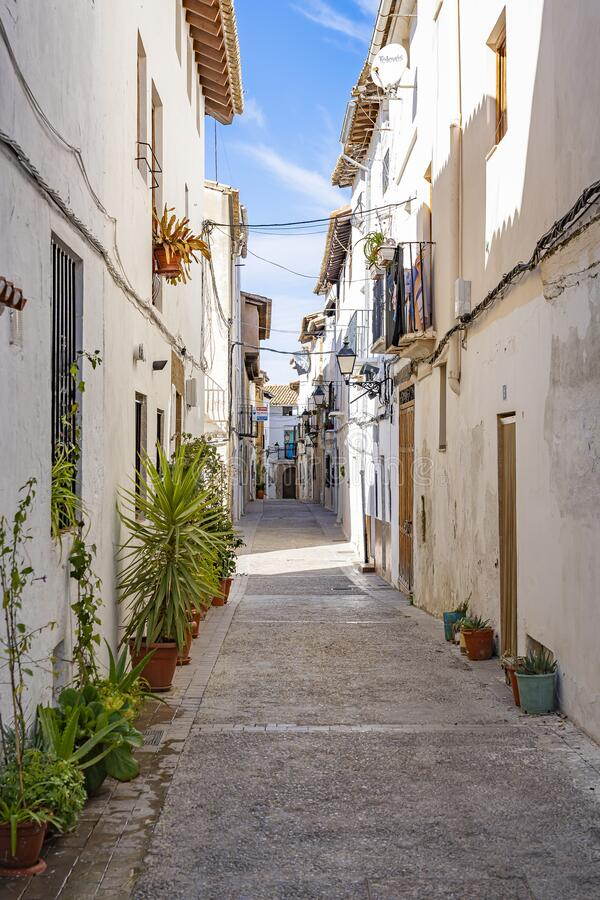 Typical old Spanish street, Calle Purisima, with many planters in Requena, Spain royalty free stock images