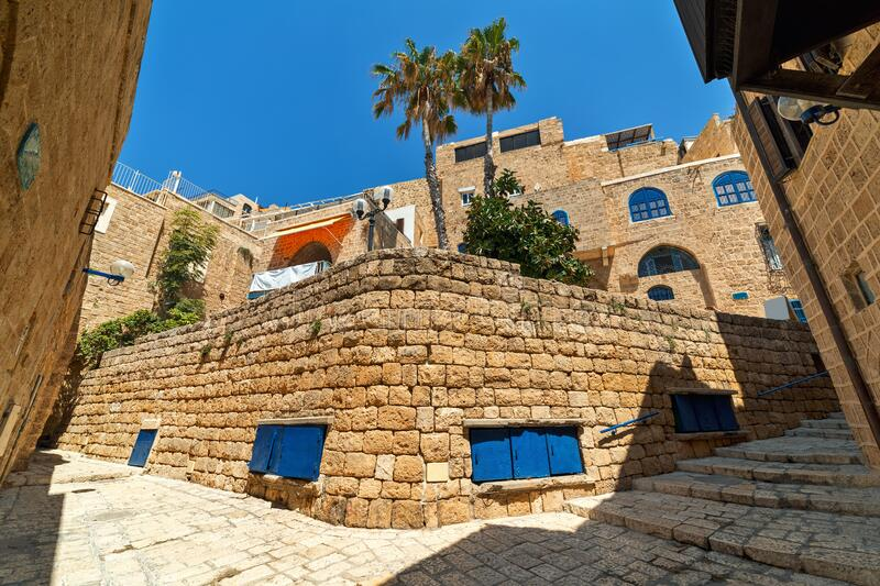 Ancient stone houses and narrow street of old Jaffa, Israel. royalty free stock photography