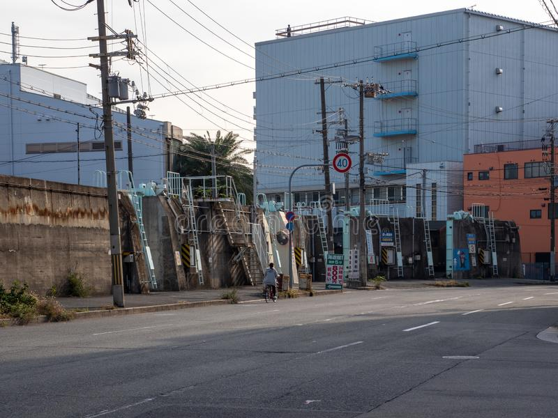 Typical Osaka streets with no people outside in early morning autumn royalty free stock photography