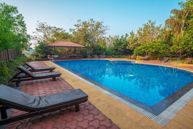 Typical  pool at South India. Near several hotels at morning stock image