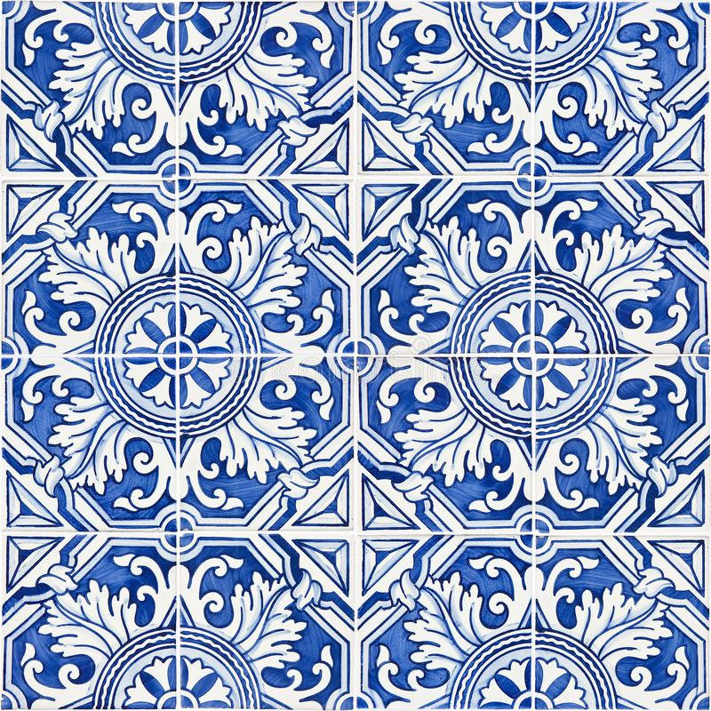 Typical Portuguese decorations with colored ceramic tiles - frontal view stock photo