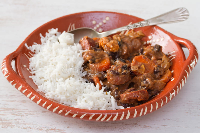 Typical portuguese dish feijoada stock images