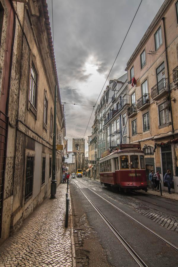 Typical portuguese tram in Lisbon royalty free stock images