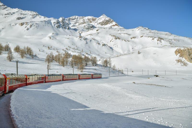 Typical red Bernina Express train riding through the Bernina pass royalty free stock image