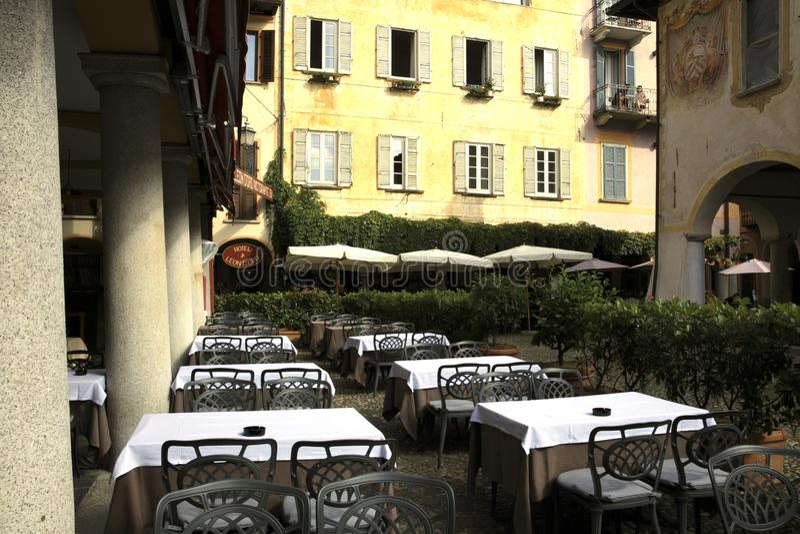 Orta Lake. Typical restaurant in Orta, Orta, Novara, Piedmont, Italy stock image