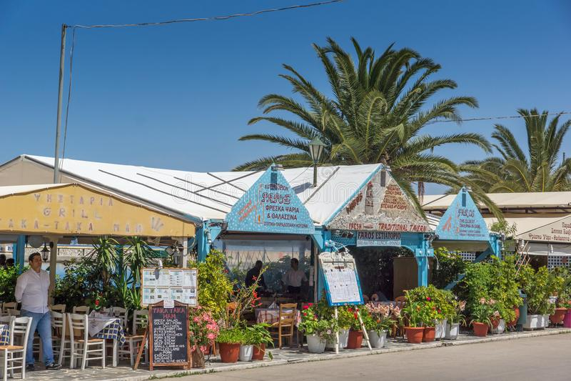 Typical Restaurant at Sami town, Kefalonia, Ionian islands, Greece stock photos