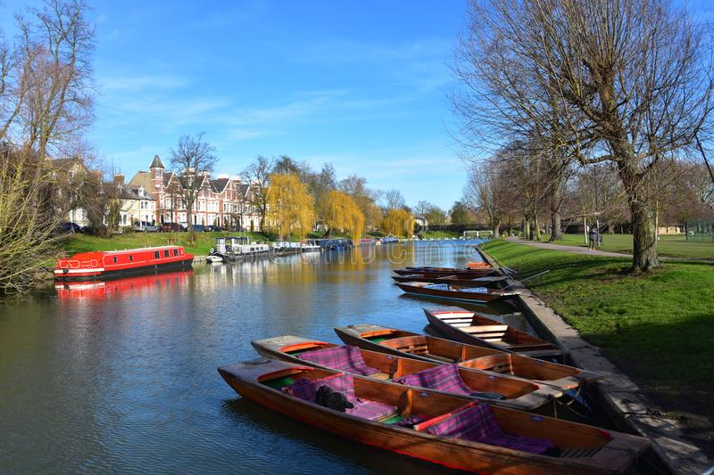River Cam at Jesus Green in Cambridge UK with punts royalty free stock photos