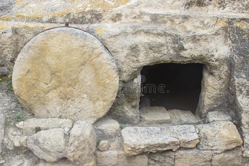 A typical rock hewn sepulchre on the road to megiddo in Israel royalty free stock image