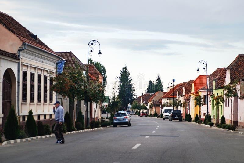 Typical Romanian street near Rasnov Fortress royalty free stock photography