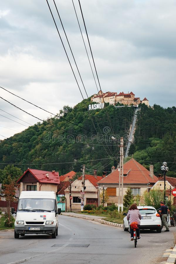 Typical Romanian street near Rasnov Fortress royalty free stock images