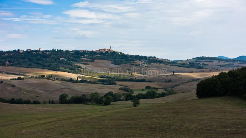 Typical rural landscape panorama at south Tuscany, Siena province, Tuscany royalty free stock image