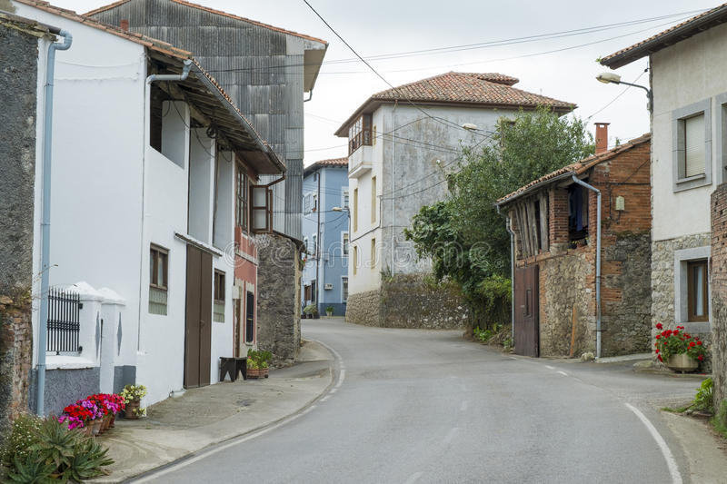 Typical rural street in Asturias, Spain. royalty free stock images
