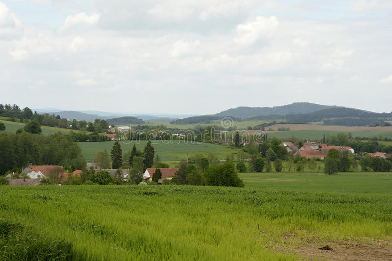 Typical Rural Villages in Landscape, Bohemian Forest, Czech Republic, Europe royalty free stock photo